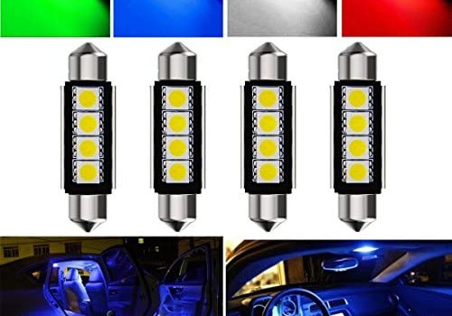 Botepon 4Pcs 211-2 212-2 578 LED Festoon Bulb 42mm 5050 3SMD Canbus Error For Car interior Dome/Map/Trunk/License Plate Light Blue