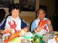 Mom and Dad enjoying their lobster dinner