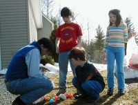 Kids counting Easter eggs back in 2002