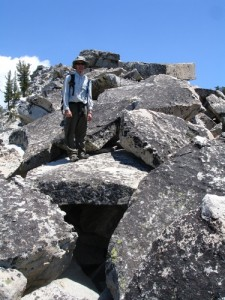 Climbing up to Horse Ridge - notice all the lichen on the boulders. Very stable.
