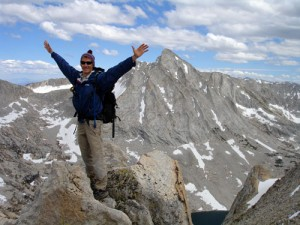 Tom at the summit of Sheep Peak with Mt. Conness in the background