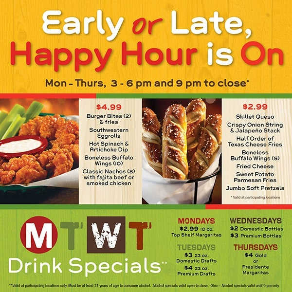 Happy Hour/Late Night and MTWT Specials