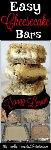 Easy Cheesecake Bars - Tangy Lemon on MyHumbleHomeandGarden.com