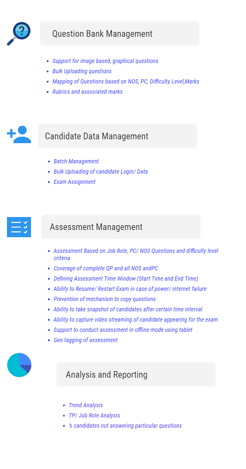 Assessment platform Features for Skill Assessment