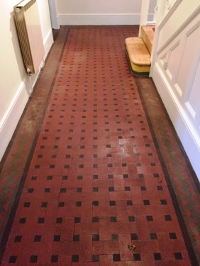 Victorian Tiled Hallway Oxford Before Cleaning