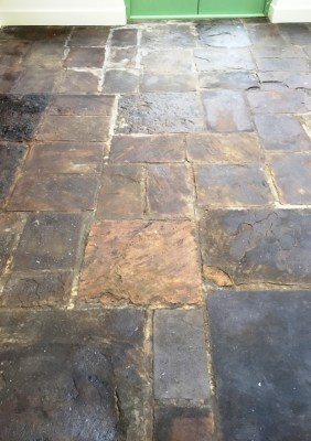 Slate Conservatory Floor Before Cleaning Bicester