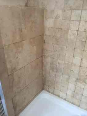 Travertine Tiled Shower Before Cleaning Abingdon