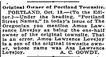 Portland Street Names - October 14, 1921 - Lovejoy