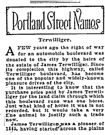 Portland Street Names - November 19, 1921 - Terwilliger