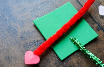 Step 6: Place or glue arrow across green foam square