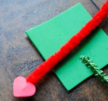 Step 6: Place or glue arrow across green foam square