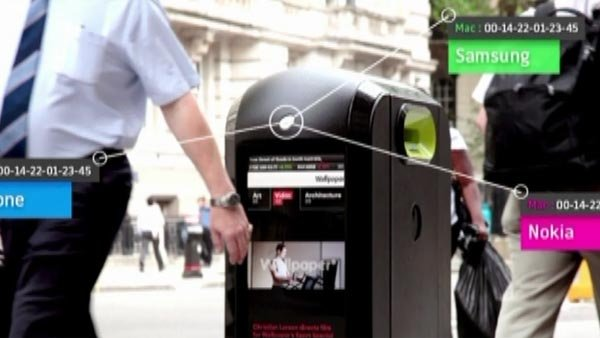London bins were tracking and collecting data off of smartphones. (Source: RENEW ORB/CNN)
