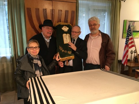photo: 3-31-16 Rabbi Haim Beliak brought a Torah back to Poland.