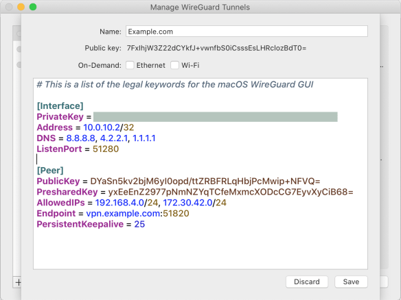 Screen shot of macOS WireGuard GUI