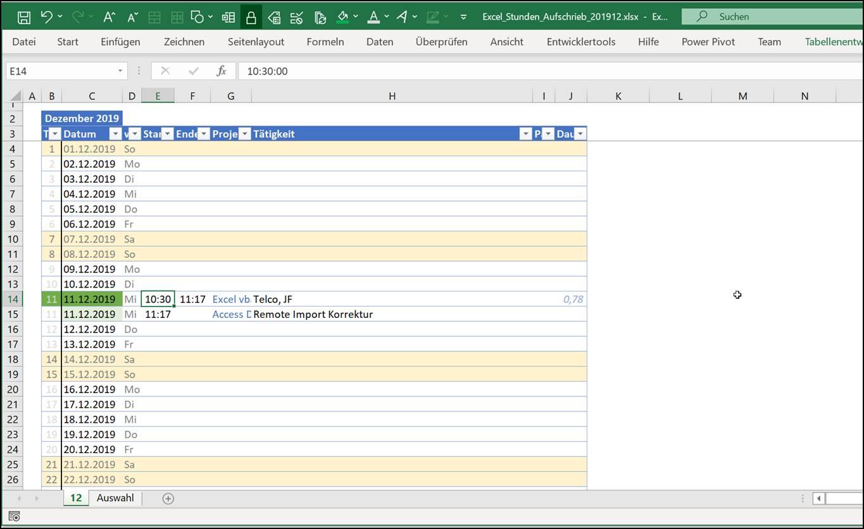 Excel Stundenzettel Kalenderaufschrieb