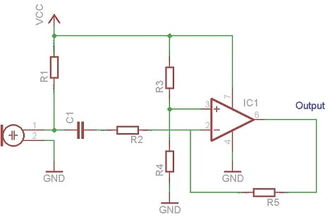 Op-amp based electret microphone preamplifier
