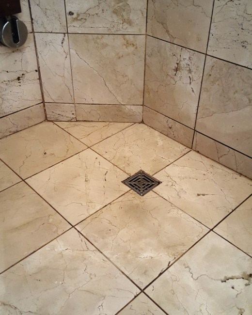 Badly Stained And Mouldy Marble Shower A Cubicle