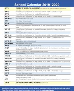 NYC Department of Education School Calendar 2019-2020
