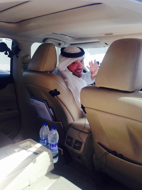Khalid Al Ameri getting in his Careem car for his work-shift