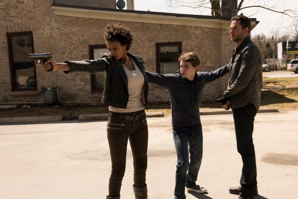 "HEROES REBORN -- ""Brave New World / Odessa"" Episode 101 -- Pictured: (l-r) Judith Shekoni as Joanne, Robbie Kay as Tommy, Zachary Levi as Luke Collins -- (Photo by: Christos Kalohoridis/NBC)"