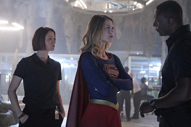 """""""Pilot"""" -- After 12 years of keeping her powers a secret on Earth, Kara Zor-El, (Melissa Benoist, center) Superman's cousin, decides to finally embrace her superhuman abilities and be the hero she was always meant to be, on the series premiere of SUPERGIRL, Monday, Oct. 26 (8:30-9:30 PM, ET/PT), on the CBS Television Network. The series moves to its regular time period (8:00-9:00 PM) on Monday, Nov. 2. Also pictured: Chyler Leigh as Alex Danvers (left) and David Harewood as Hank Henshaw Photo: Sonja Flemming/CBS ©2015 CBS Broadcasting, Inc. All Rights Reserved"""