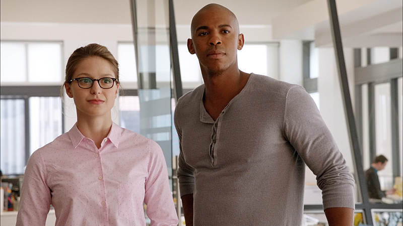 """Pilot"" -- After 12 years of keeping her powers a secret on Earth, Kara Zor-El, (Melissa Benoist, left) Superman's cousin, decides to finally embrace her superhuman abilities and be the hero she was always meant to be, on the series premiere of SUPERGIRL, Monday, Oct. 26 (8:30-9:30 PM, ET/PT), on the CBS Television Network. The series moves to its regular time period (8:00-9:00 PM) on Monday, Nov. 2. Also pictured: Mehcad Brooks (right) as James Olsen Framegrab: © 2014 WBEI. All rights reserved."