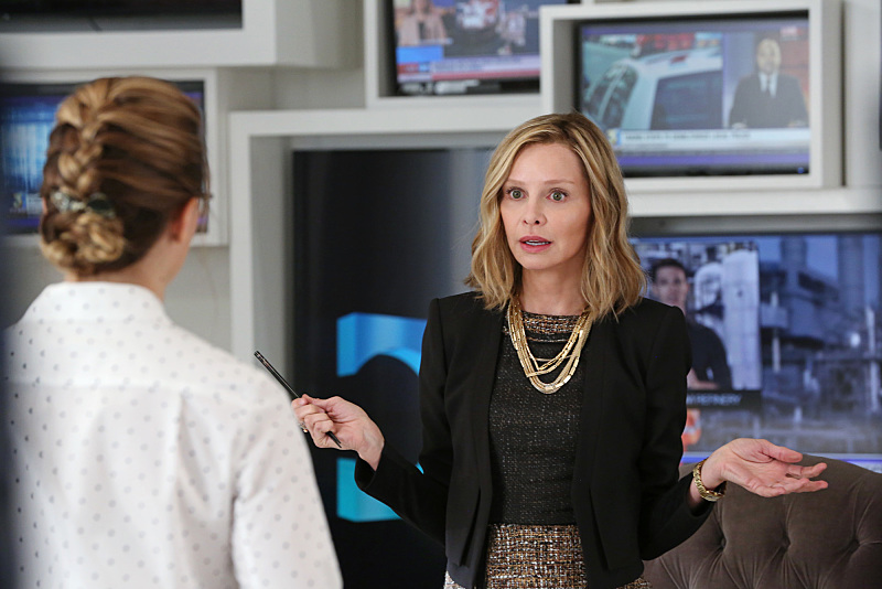 """Stronger Together"" -- Cat (Calista Flockhart, right) pressures James to use his connection to Superman to get her an interview with Supergirl, when SUPERGIRL moves to its regular time period, Monday, Nov. 2 (8:00-9:00 PM, ET/PT) on the CBS Television Network. Also pictured: Melissa Benoist (left) Photo: Michael Yarish/CBS ©2015 CBS Broadcasting, Inc. All Rights Reserved"