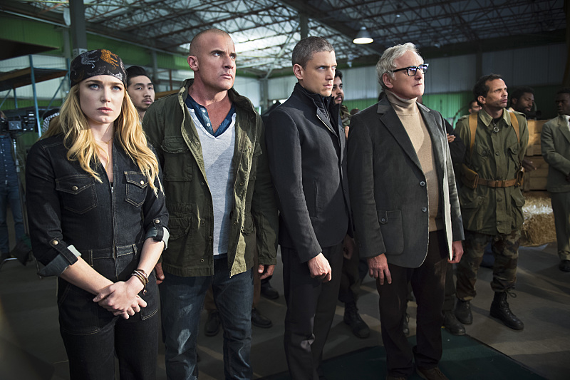 No, not SMERSH...  -- Pictured (L-R): Caity Lotz as Sara Lance, Dominic Purcell as Mick Rory, Wentworth Miller as Leonard Snart and Victor Garber as Professor Martin Stein (Diyah Perah/The CW)