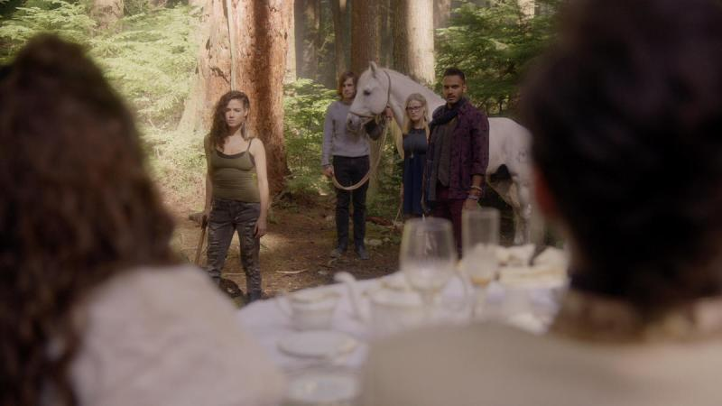 "THE MAGICIANS - ""Impractical Applications"" Episode 106 - Pictured: (l-r) Jade Tailor, Jason Ralph, Olivia Taylor Dudley, Arjun Gupta - (Photo by Syfy)"