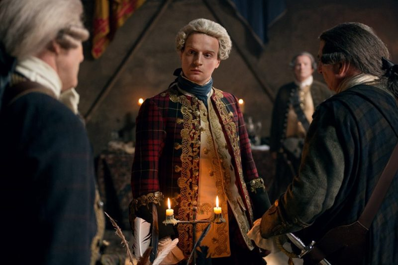 Everyone knows that the man with the fanciest jacket is automatically in charge. (Andrew Gower as Prince Charles Stuart.)