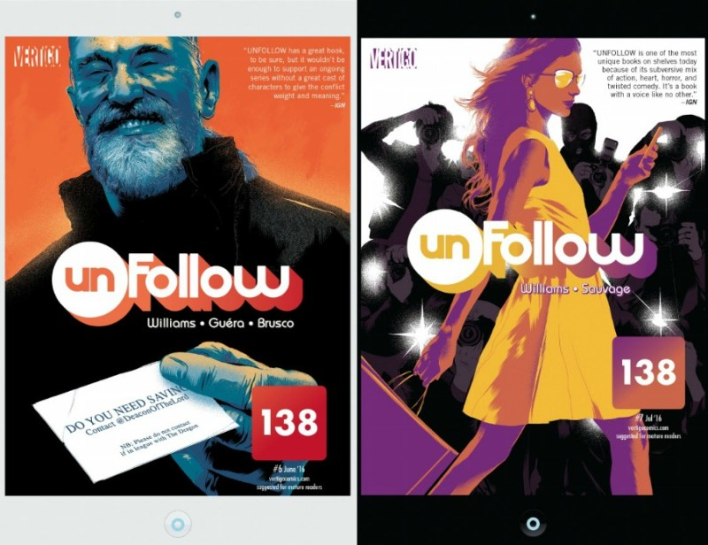 Unfollow Covers #6 and #7 art by Matt Taylor