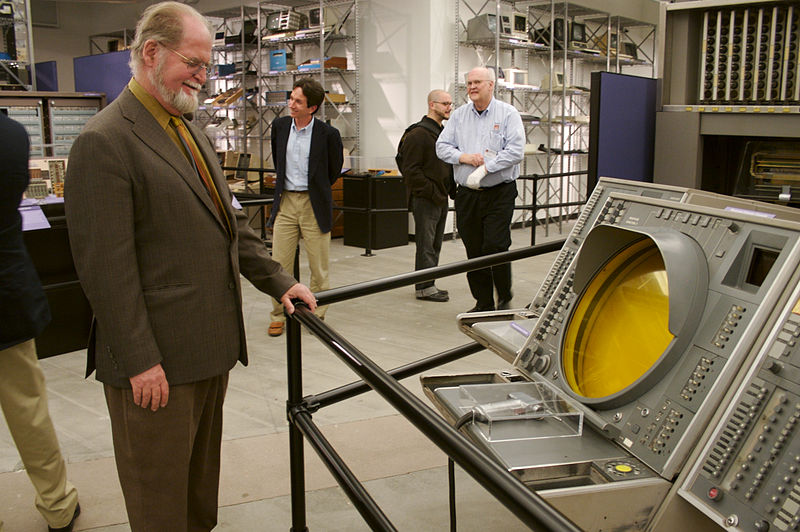 Larry Niven admires the SAGE (Semi-Automatic Ground Environment) air-defense operator's console, at the Computer History Museum in Mountain View, California