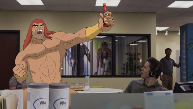 """SON OF ZORN: L-R: Zorn (voiced by Jason Sudeikis) and guest star Bryce Johnson in the """"Workplace Battles"""" episode of SON OF ZORN airing Sunday, Oct. 2 (8:30-9:00 PM ET/PT) on FOX. ©2016 Fox Broadcasting Co. Cr: FOX"""