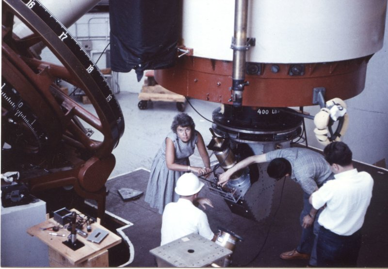 Vera Rubin works at the Lowell Observatory in Flagstaff, Ariz., in 1965. (Carnegie Institution)