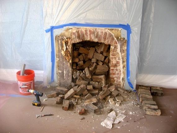 brick fireplace excavation