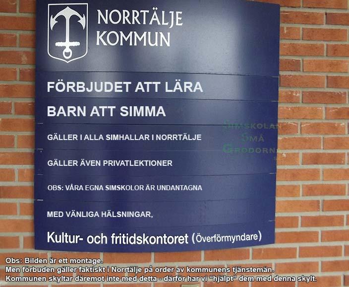 Fotomontage: Norrtälje kommun förbjuder konkurrerande simskolor.