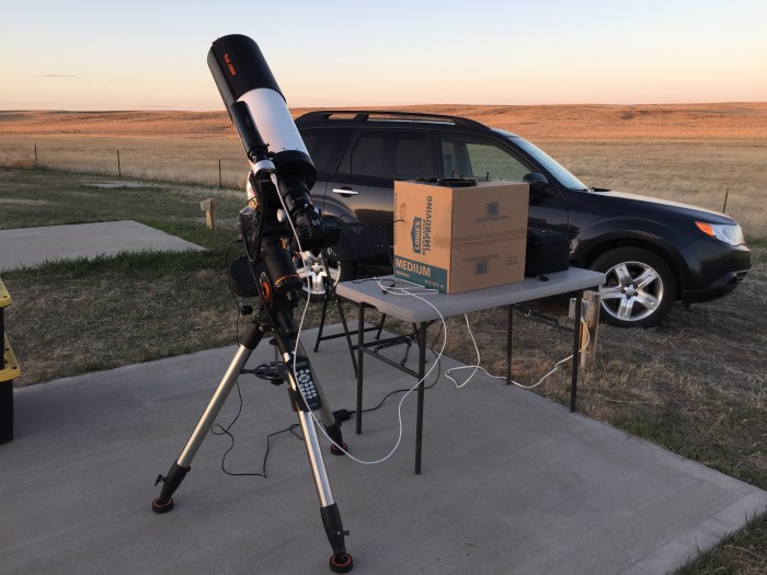 Deep Sky Imaging Setup: The cardboard box makes a good dew cover and light shield for the laptop, which controls and camera and auto-guider.