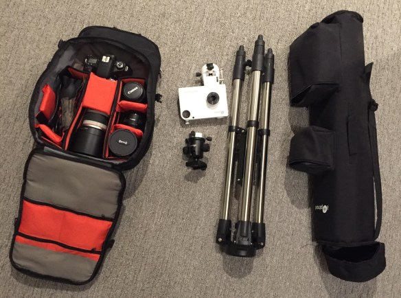 Portable Setup: Everything fits nicely in a backpack and a carry bag.