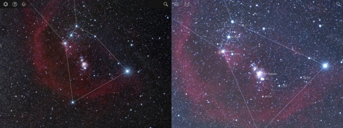 Maximum zoom level, Sky Survey (left) vs. Sky Guide (right)