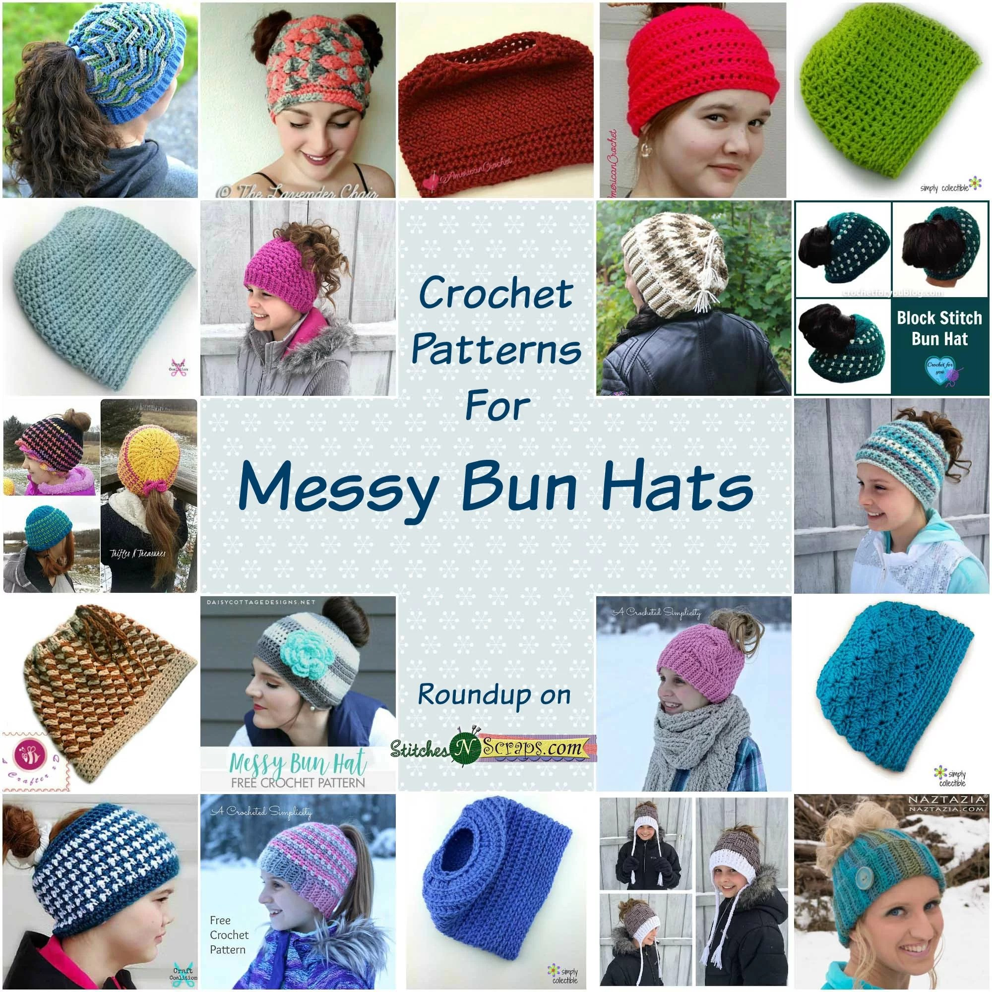 Round Up Messy Bun And Ponytail Hats Stitches N Scraps