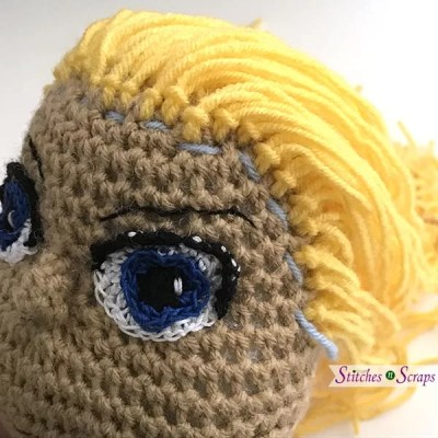 Attaching Yarn Hair to Amigurumi Crochet Dolls, Sewing on the Hair ... | 400x400