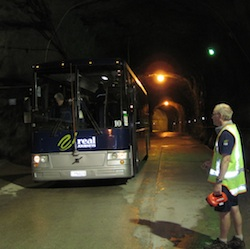 Bus in tunnel of powerstation