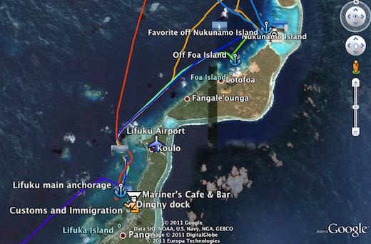 Ha'apai Tracks in Google Earth
