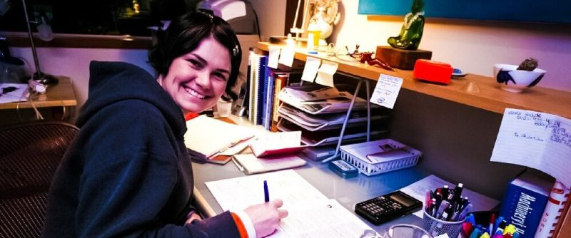 Respect-The-Individual-Woman-Home-Office-Desk-Buddha-Calculator-Working-books