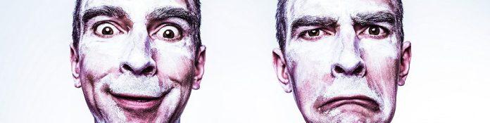 emotions-man-sad-amused-emotions-theatre-masks-flour-make-up