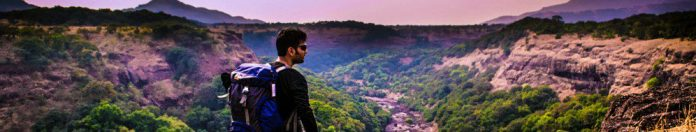 Hiking Man Traveling Journey Mountain Top View Thinking Forest Landscape Look Scenery