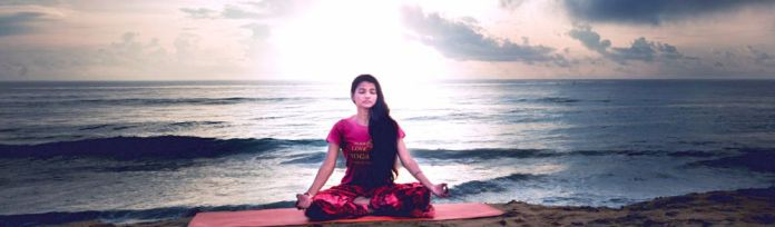 Life Sutra Morning Yoga Woman Sozen Meditating Sea Beach Sunset Sunrise Sun Sky Ocean Horizon PS