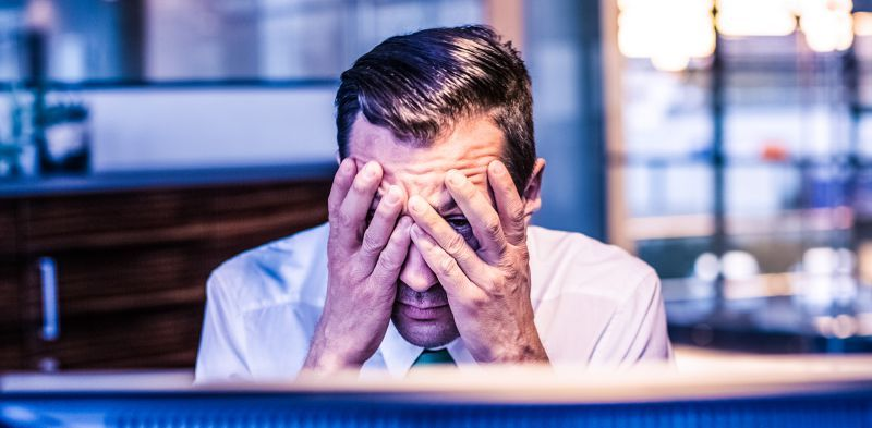 Frustrated Man Working Office Burnout Thinking Worrying Problems Selling Buying Fair Business