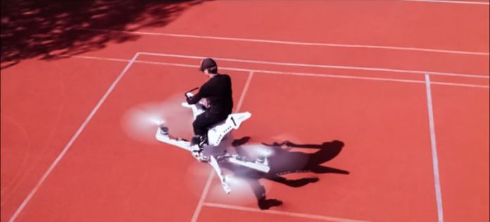 Hoversurf Scorpion-3 S-3 Hoverbike Russia Top Angle Rider Pilot No Protection Gear