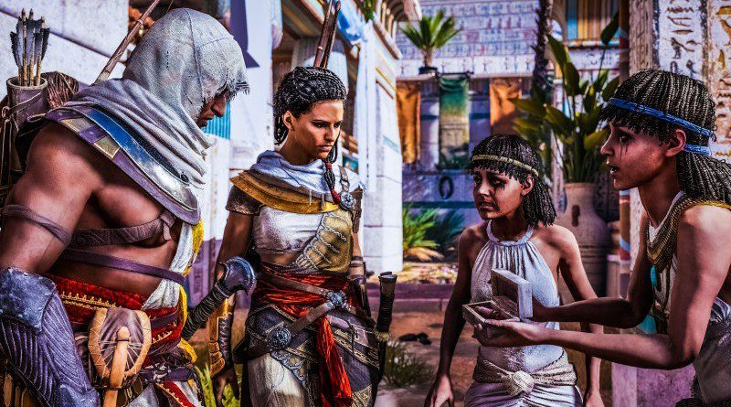 ACO_screen_BayekAya_Interrogate Ubisoft Assassins Creed Origins Ancient Egypt Roman Conflict Brotherhood Templar Screenshot Example Release Date Preview Review